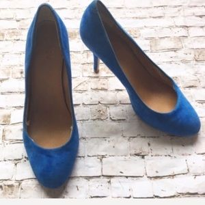J CREW Mona electric blue suede heels
